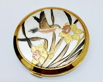 Vintage Compact Made By Lovely Unused Brass Silver Etched Humming Bird & Daffodils Flowers Art Nouveau Mirrored Make up compact Brass Gold
