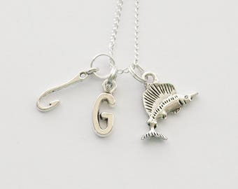 Fishing Necklace, Fish Necklace, Fish hook Necklace, Sailfish Necklace, Angler Necklace, Fisherman Necklace, Fishhook Necklace