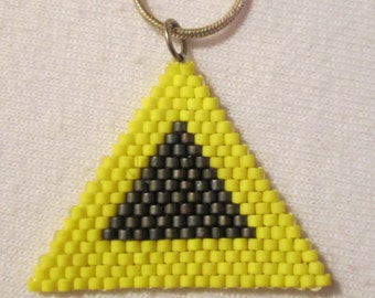 Sunshine Yellow and Charcoal Gray Triangle Delica Woven Pendant