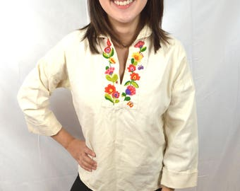 Vintage Embroidered Hippie Boho Summer Top Tunic