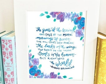 ON SALE Robert Browning Quote - Anne of Green Gables - Wall Art Print- QRB