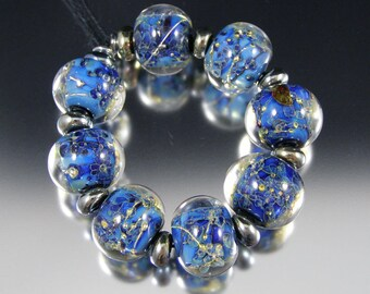 Celestial - Handmade Lampwork Glass Bead Set by That Bead Girl - Blue sparkle!