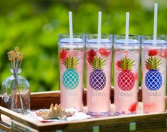 Pineapple Tumbler, Bridesmaid Gift, Skinny Tumbler, acrylic tumbler, Personalized Water bottle, Bridal Party Gift, Wedding Party Tumbler