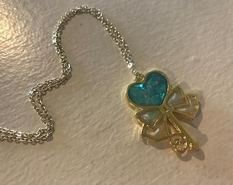 Aqua Shimmer Heart Key Necklace