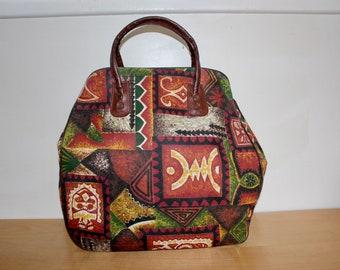1960s Tiki Overnight Bag - Retro Travel Luggage Carry On