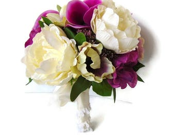 Silk Wedding Bouquet / brides silk bouquet / artificial bridal bouquet / Free Delivery