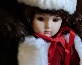 Christmas Outing Vintage Porcelain Doll