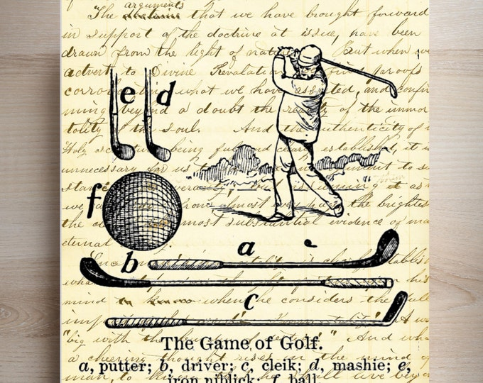 vintage golfer game of golf sports industrial rustic art print custom choice background from antique paper VGG3487