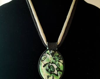 Oval Mokume Gane Polymer Clay Pendant in Black, Green and Pearl