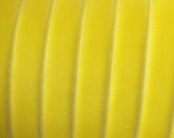 """4-7/8 Yards Bright Yellow Velvet Ribbon 1/4"""" Wide BD-BY"""