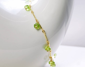 Peridot Bracelet by Agusha. Green Gemstone Bracelet. Peridot Gold Filled Bracelet