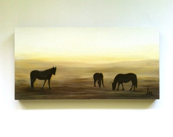 Horse Oil Painting, 6 x 12 on Art Board, Ready to Hang, Horses, Misty, Sunrise