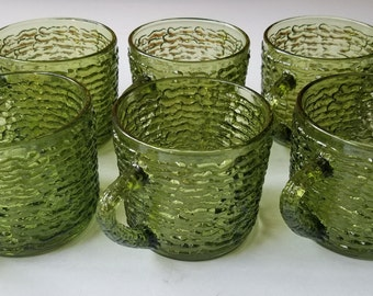 Set of 6 Anchor Hocking Soreno-Avocado Green Cups