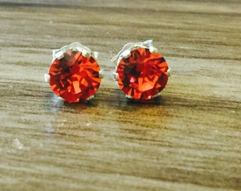 Padparadscha Swarovski Crystal Sterling Silver Earrings