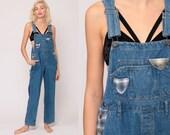 Patchwork Overalls Pants 90s Denim Plaid Patch Coveralls GRUNGE Dungarees Bib Overalls Blue Long Jean Vintage Carpenter Medium