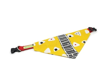 GOOOD Dog Collar (Small Sz)   Center Scarf - Onigiri Day   100% Yellow & Black Fabric