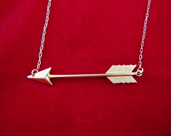 Flying Arrow Across Your Heart Brass Necklace