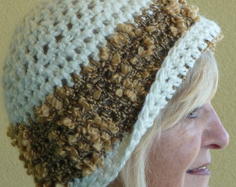 White winter crochet hat, add the metallic gold and it's a unique winter hat, versatile style hat that's chic, original women's fashions
