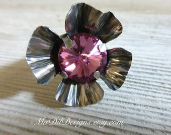 Sterling Silver Flower Adjustable Ring Swarovski Rivoli Pink Crystal 925 Silver Four Petal Flower Ring Bold Large Statement Ring
