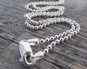Sterling Ball Chain, 2mm Chain, 24 Inch Chain, 925 Sterling Chain, Silver Bead Chain, Sterling Bead Chain, 925 Chain, Sterling Necklace