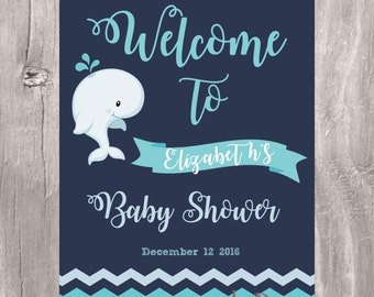 Whale Baby Shower Welcome Sign, Printable Personalized Navy and Turquoise Baby Shower Whale Sign, Nautical Baby Shower Welcome Sign