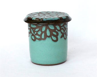 French Butter Keeper, Turquoise Modern Floral