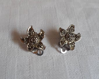 Marcasite Star Clip On Earrings