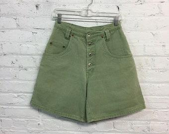 vintage 90's olive green denim shorts / high waisted khaki green jean shorts / high rise button fly shorts