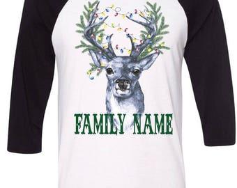 Family Christmas Pajamas, Family Christmas Shirts,Deer Christmas Tshirt,Custom Family XMAS Shirt,Christmas Lights,Pine Wreath,Christmas Tree