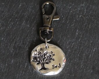 family tree, pewter key chain or necklace, anniversary, wedding, gift, father's day, mother's day