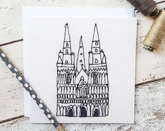 Lichfield Cathedral Printed Square Card Blank Inside