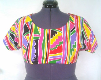 SPANKING NEW! Size 16 Cotton Jersey 90's Style Print Top
