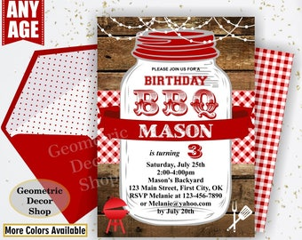 BBQ Invitation / Bbq Birthday invitation / Backyard / barbecue / barbeque / Invite / photo photograph Boy girl woodland red plaid BDBBQ10/13