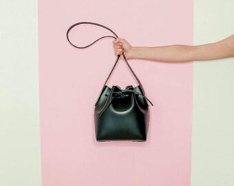 Black Leather Bucket Bag. Italian vegetable tanned leather