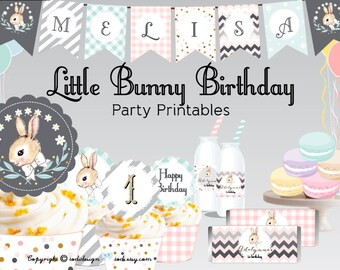 Little Bunny Birthday Party Printables - PERSONALIZED Birthday party, Baby Shower