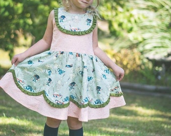 New! Esther Rose Bib/Yoke Girls Dress w/ Scalloped Panels Instant Download PDF Sewing Pattern