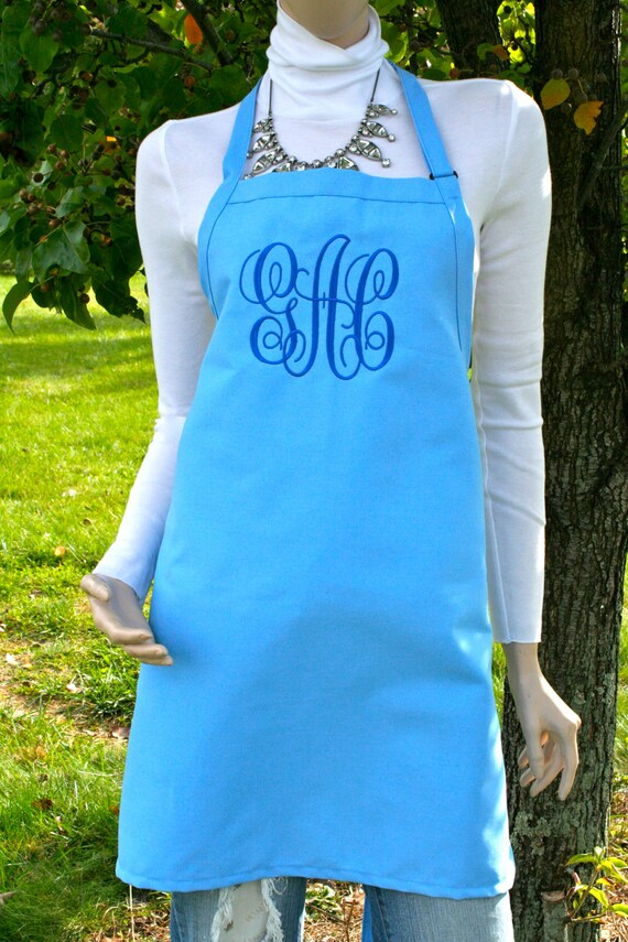 """Cotton Candy Blue apron NO pocket  name or """"Monogram"""" font. Bow or not? (28""""L x 24""""W) Wedding, Robin Egg, Chef, Picnic, Kitchen remodel"""