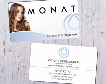 Monat Business Cards - Sleek White Picture Ft with White & Blue Bk - Durable 16pt - Rich Matte Finish -PRINTED and SHIPPED directly to YOU!