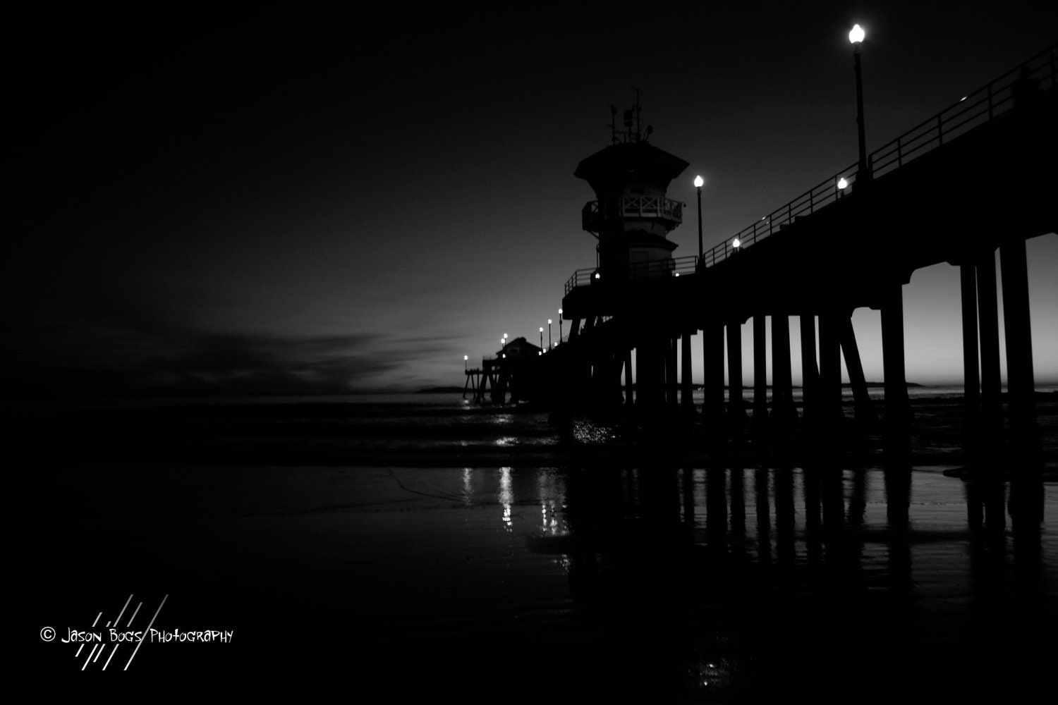 Night At The Pier Sunset On A California Beach BW Photo Of