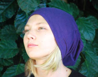 Teen Hat - Slouchy - Beanie - Purple - Eco Friendly  Jersey - Organic Clothing - Ready to Ship