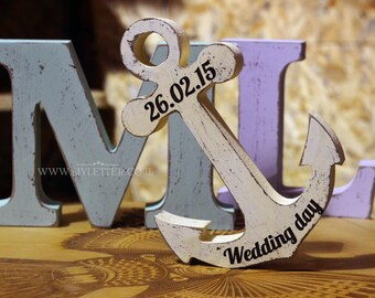 Personalized wedding letters - Nautical Wedding decor - Initials  - Wooden anchor - Wedding Gifts - Rustic Wedding Decor - Nautical Wedding