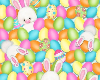 Hop To It Easter Bunny Easter Eggs  Fabric by Henry Glass