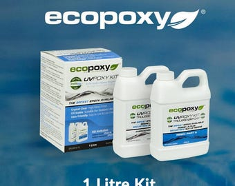 Resin Art, Epoxy Resin, EcoPoxy® UVPoxy 1 Litre Kit, Safest, Eco-friendly, Resin Tables, Casting Resin, Jewelry, Sculpture, Wood Working