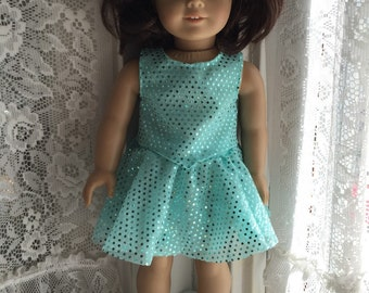Seafoam green sequined skirt and top for 18 inch dolls