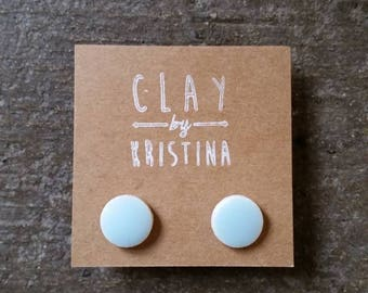 Earrings, Ceramic Stud Earrings- Matte Blue Round, ceramic earrings, round earrings, matte blue earrings, matte blue round earrings, studs