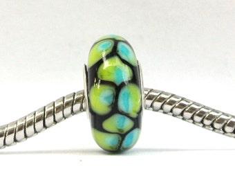 Lampwork Glass Bead fits ALL Big Hole Bead European Charm Bracelets - Aqua and Green Pin Wheel BHB