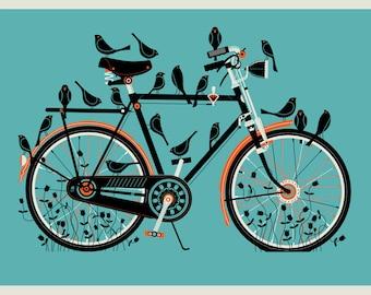 Bird Bike 12 x 16 silkscreen