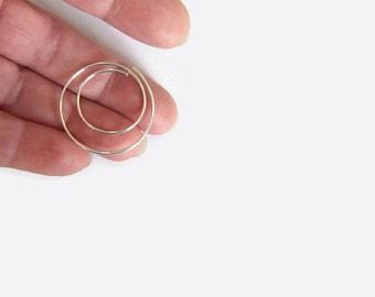 "1.4"" Silver Hoop Earrings, 18 Gauge Earrings, Spiral Wire Earrings, Contemporary Minimal Sterling Silver Jewelry, 16 Gift"