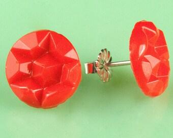 Vintage Red Glass 1940's Star Pattern Post Earrings