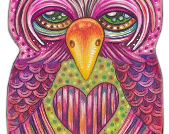 "Obert - an 8 x 10"" ART PRINT of a whimiscal Fun Loving gentle and quiet Colourful Owl Art Great For Kids Rooms or Bird & Whimscal Art Lovers"